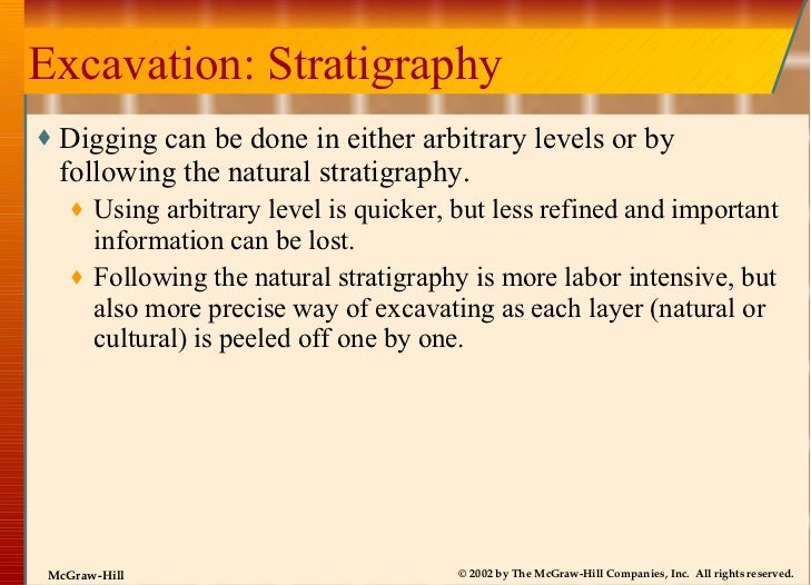 Excavation: Stratigraphy <ul><li>Digging can be done in either arbitrary levels or by following the natural stratigraphy. ...