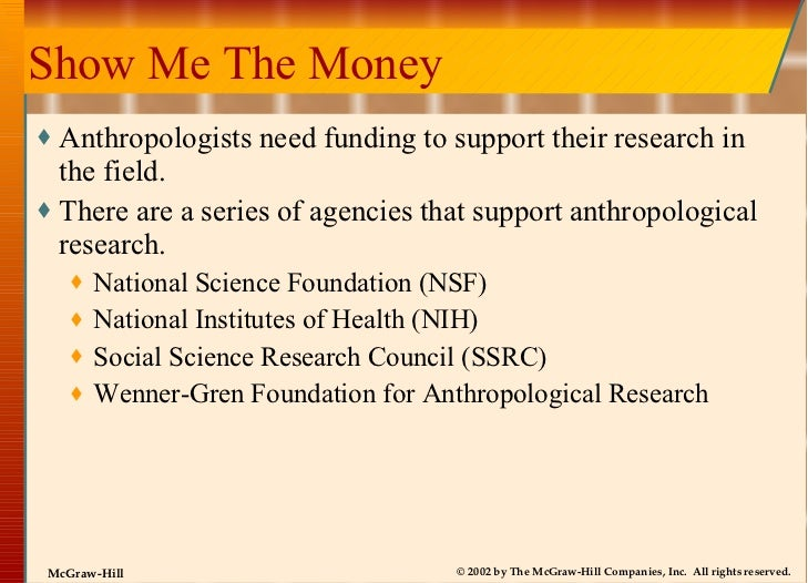Show Me The Money <ul><li>Anthropologists need funding to support their research in the field. </li></ul><ul><li>There are...