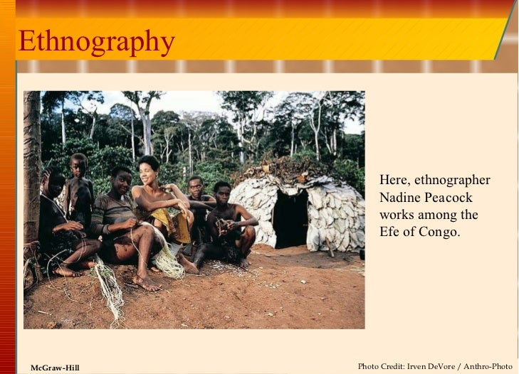 Ethnography Here, ethnographer Nadine Peacock works among the Efe of Congo. Photo Credit: Irven DeVore / Anthro-Photo