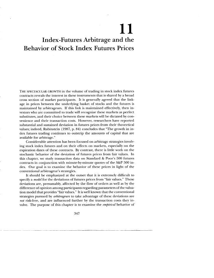11                Index-Futures Arbitrage and the   Behavior of Stock Index Futures Prices     T~~ SP~CT~CULAR GROw~'~ in ...