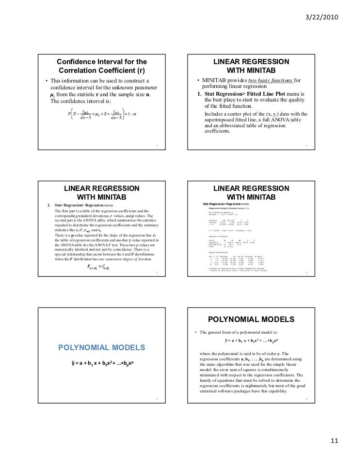 Chapt 11 & 12 linear & multiple regression minitab