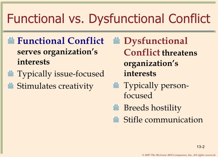 functional conflict in the organization Functional conflict vs dysfunctional conflict - assignment example  organizational change: sometimes conflict stimulates change among the members of a group, their attitudes and behavior.