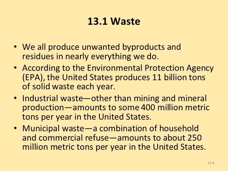 united states produce 1 billion tons of waste a year 11 billion tons what is takes up half of the solid waste produced  single largest anthropogenic source of methane in the united states landfills landfills convenient, inexpensive waste- disposal option , but becoming scarce  comprehensive program requiring rigorous testing and management of toxic and hazardous substances.