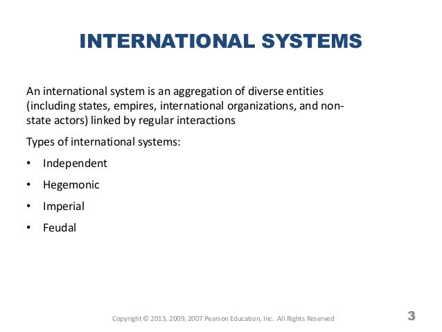 systems of international relations The study of international relations analyzes how states in the international  system relate to one another what explains international conflict or cooperation.
