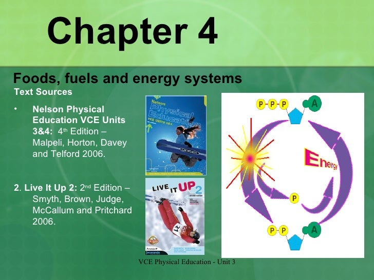 Chapter 4 <ul><li>Foods, fuels and energy systems </li></ul>VCE Physical Education - Unit 3 <ul><li>Text Sources </li></ul...
