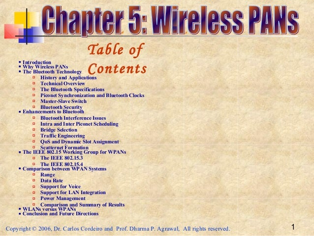 Copyright © 2006, Dr. Carlos Cordeiro and Prof. Dharma P. Agrawal, All rights reserved. 1 Introduction Why Wireless PANs...