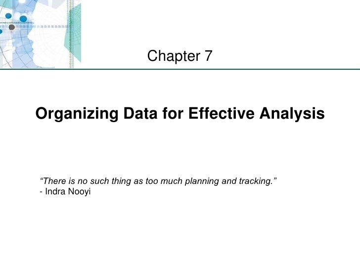 """Organizing Data for Effective Analysis <br />Chapter 7<br />""""There is no such thing as too much planning and tracking.""""- I..."""