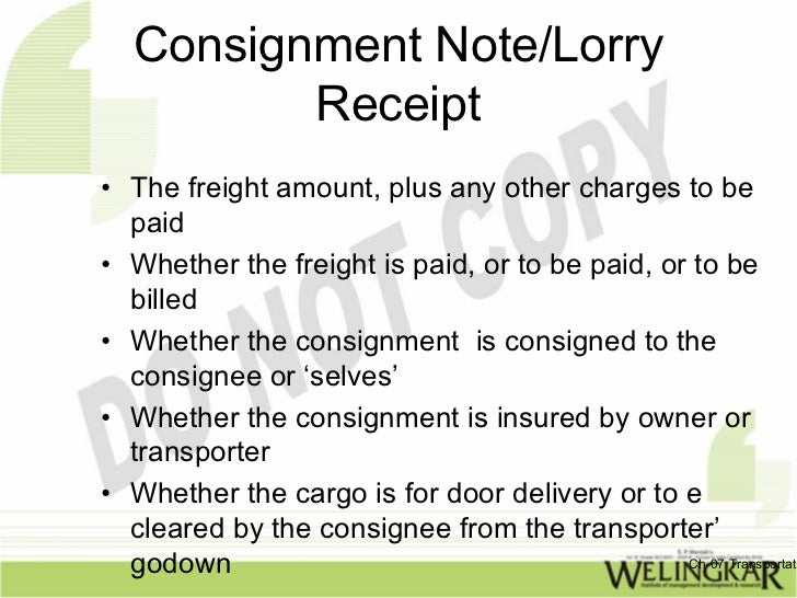 transportati 11 consignment notelorry receipt