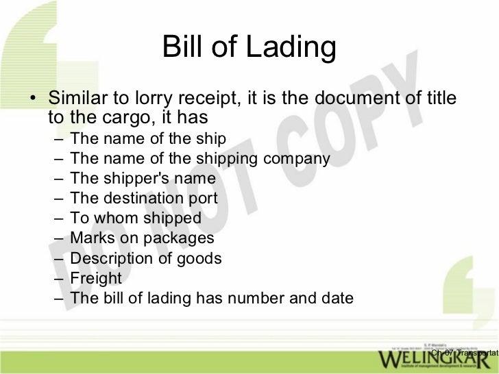 transportati 52 bill of lading similar to lorry receipt
