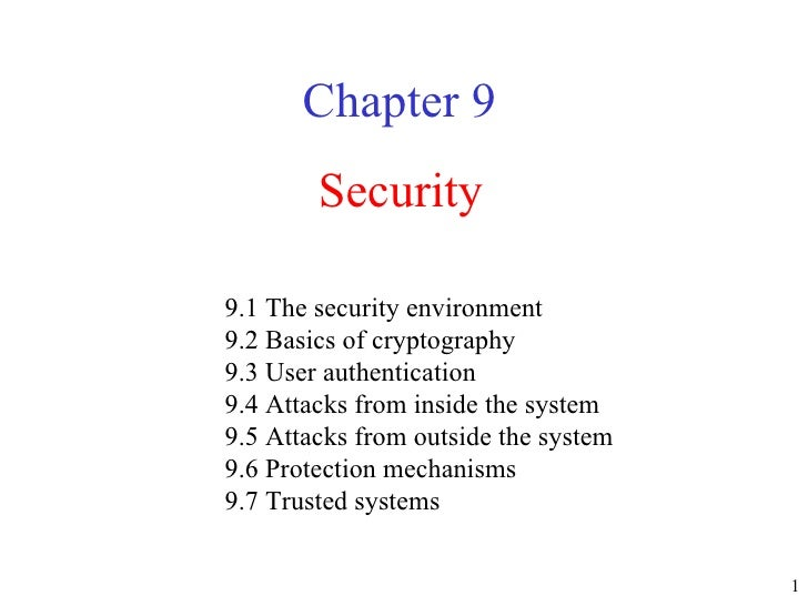 Security Chapter 9 9.1 The security environment  9.2 Basics of cryptography  9.3 User authentication  9.4 Attacks from ins...