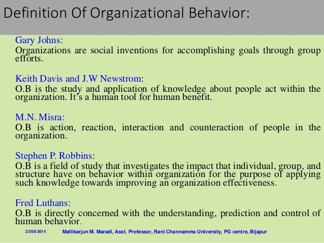 study of organizations behavior Overview organizational studies encompass the study of organizations from multiple  focusing on the behavior of organizations and populations of.