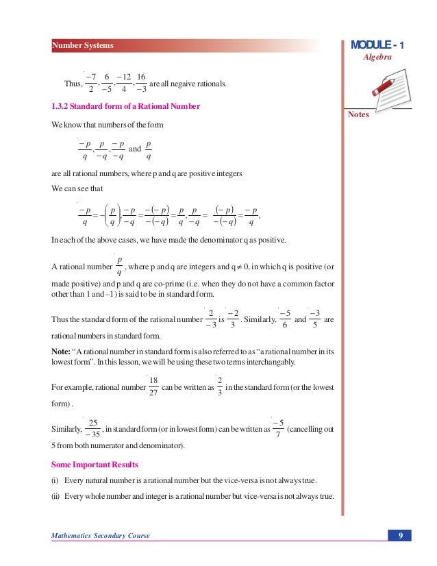 Number Systems Algebra
