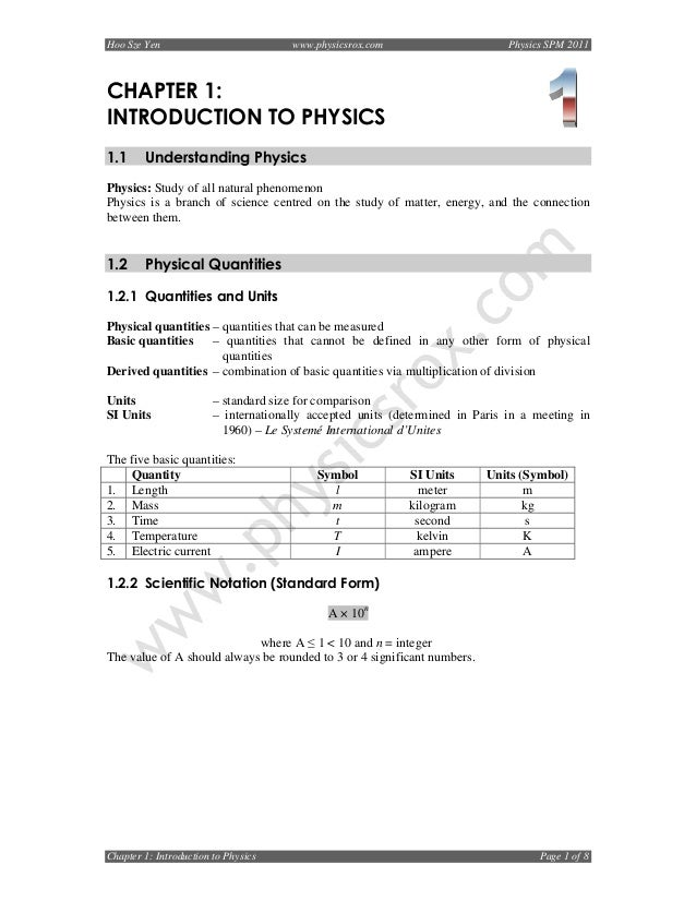 Chapter 1 Introduction To Physics 2011