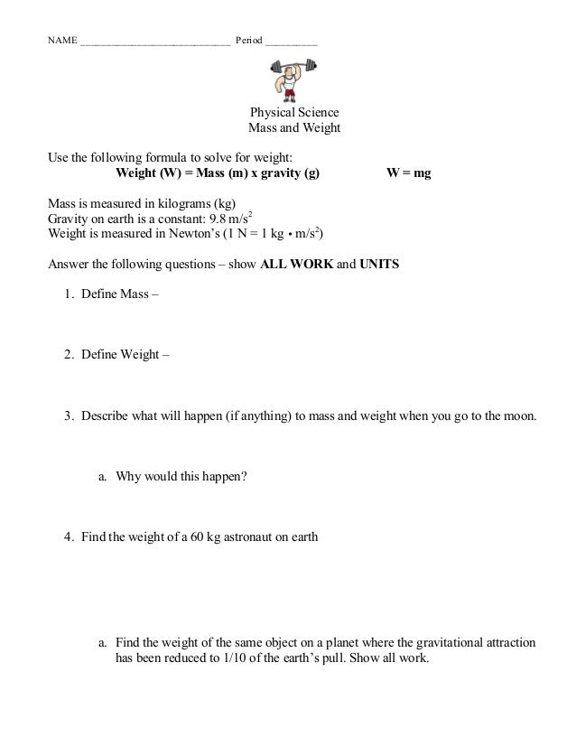 Chapter 10massweightgravityws1 – Mass and Weight Worksheet