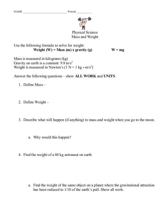 Chapter 10 Mass Weight Gravity Ws 1