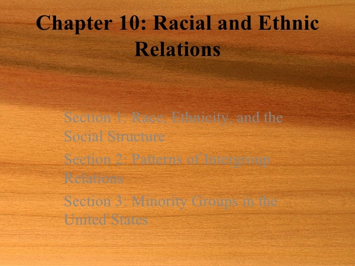 Chapter 10: Racial and Ethnic Relations Section 1: Race, Ethnicity, and the Social Structure Section 2: Patterns of Interg...