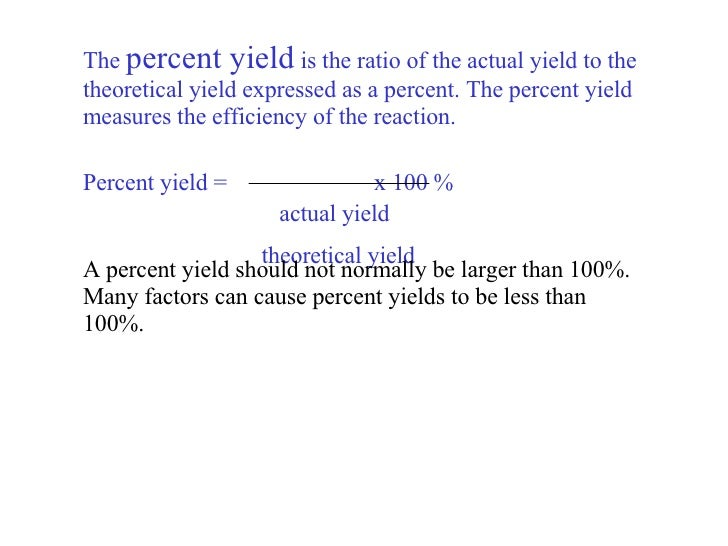 Chapter 12 Stoichiometry – Percent Actual and Theoretical Yield Worksheet