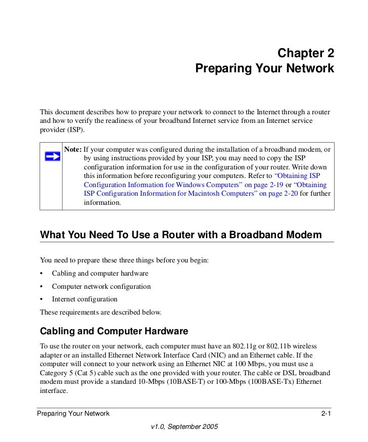 Chapter 2                                                   Preparing Your NetworkThis document describes how to prepare y...