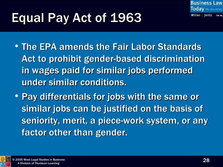 Equal pay act of 1963 an