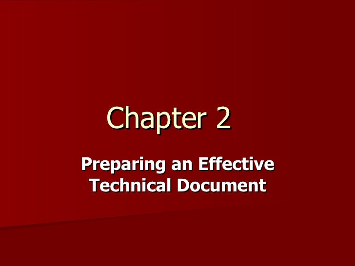 Chapter 2 Preparing an Effective Technical Document