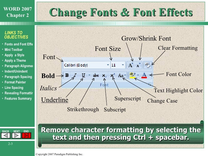 word chapter 2 formatting characters and paragraphs
