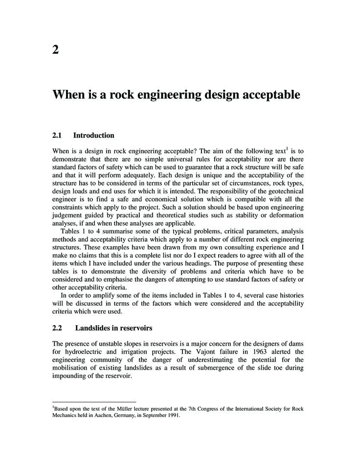 2   When is a rock engineering design acceptable   2.1      Introduction  When is a design in rock engineering acceptable?...