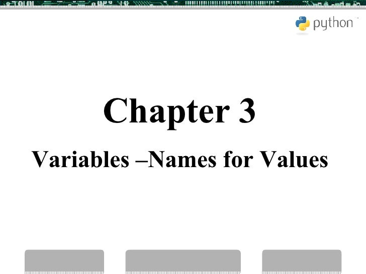 Chapter 3 Variables –Names for Values