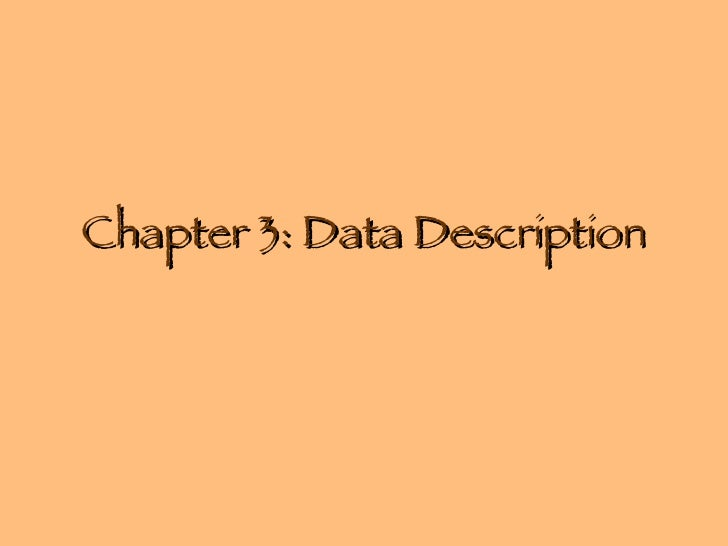 Chapter 3: Data Description