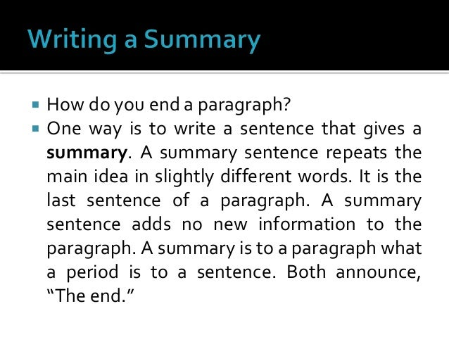 how to end off a paragraph