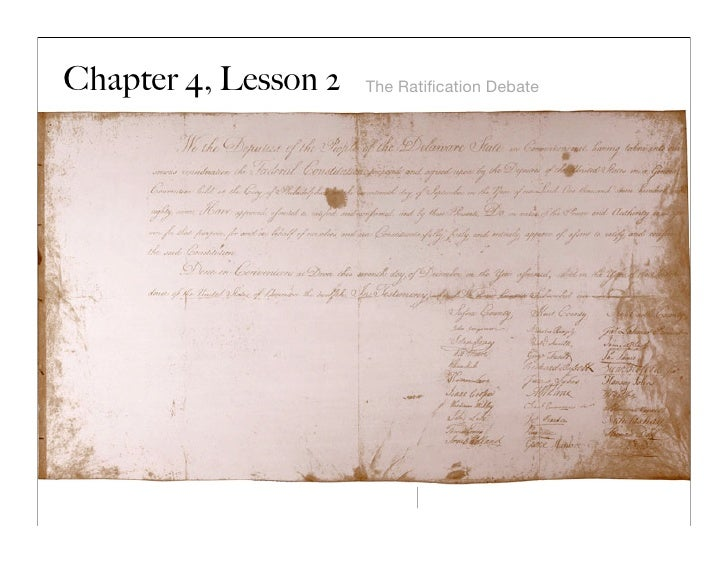 Chapter 4, Lesson 2   The Ratification Debate