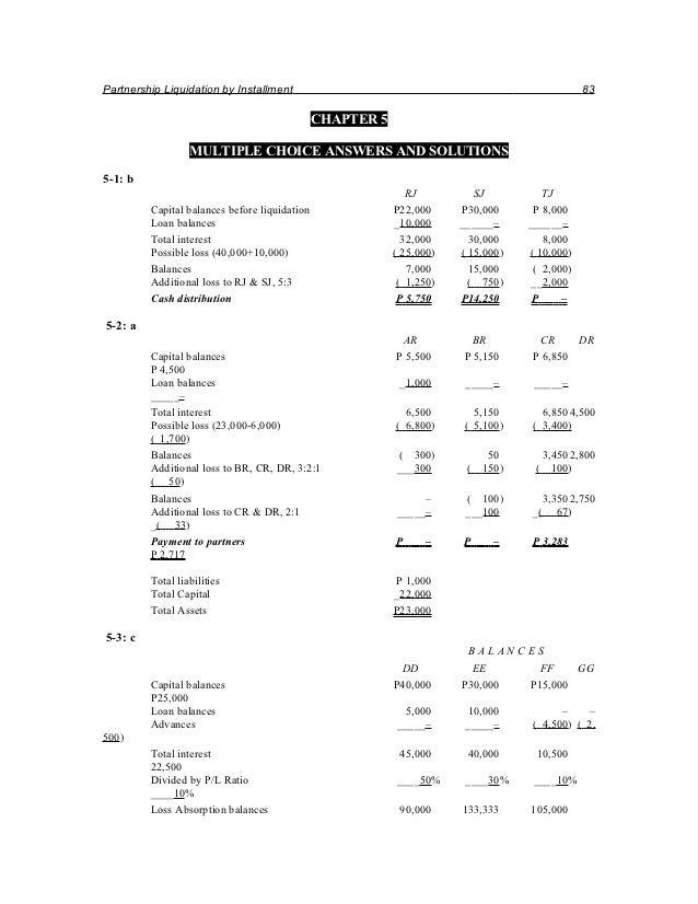 Partnership Liquidation by Installment                                                         83                         ...