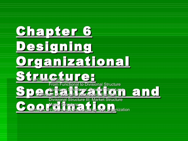 Chapter 6 Designing Organizational Structure: Specialization and Coordination Functional Structure From Functional to Divi...