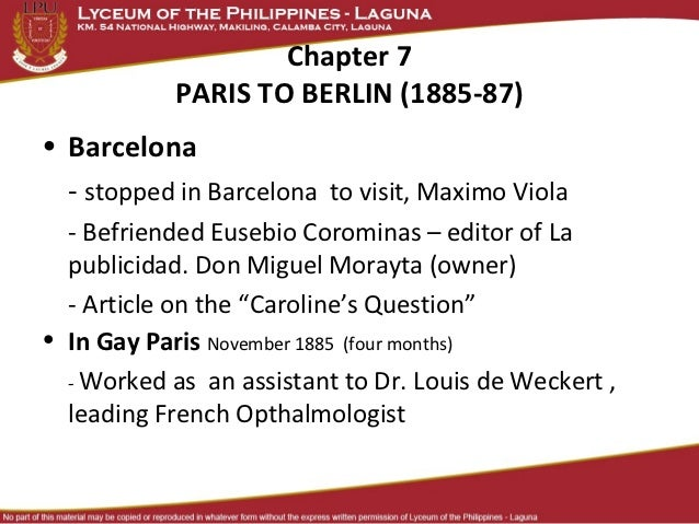 Chapter 7            PARIS TO BERLIN (1885-87)• Barcelona  - stopped in Barcelona to visit, Maximo Viola  - Befriended Eus...