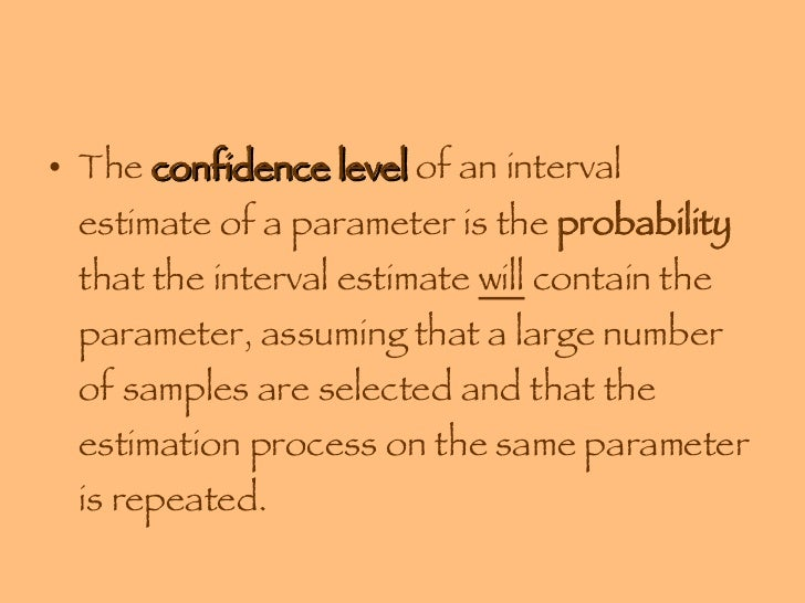 module 4 sampling confidence interval estimation Inference: estimation and confidence intervals 1 what is the distribution of colors in a bag of m&ms in this study the population of interest is m&ms and the parameter that you will.
