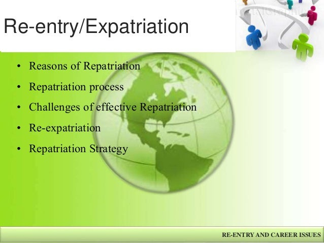 human resources expatriation and repatriation Expatriation practices in the global business environment, research and practice in human resource management, 9 (p96) since then, human resources.