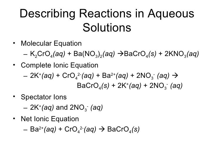 Chapter 8: Reactions in Aqueous Solution