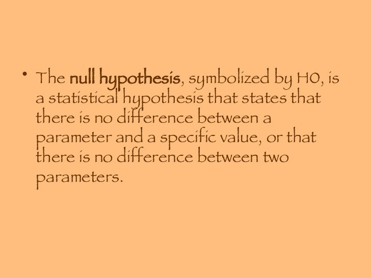 chapter 8 hypothesis testing Chapter 8 – hypothesis testing 1 chapter 8 – hypothesis testing 2 a statistical hypothesis is a conjecture about a population parameter this conjecture may or may not be true 3 the null hypothesis , symbolized by h0, is a statistical hypothesis that states that there is no.
