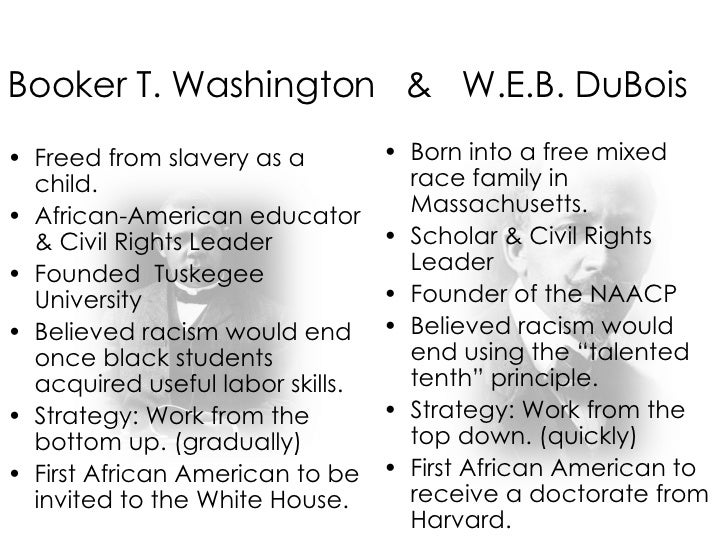 essay on booker t washington and web dubois The speeches, writings and accomplishments of booker t washington's and web du bois encapsulated two very different approaches to racial advancement, race relations and education within their include their strategies for black advancement, plan for education and approach to race relations in your essay.