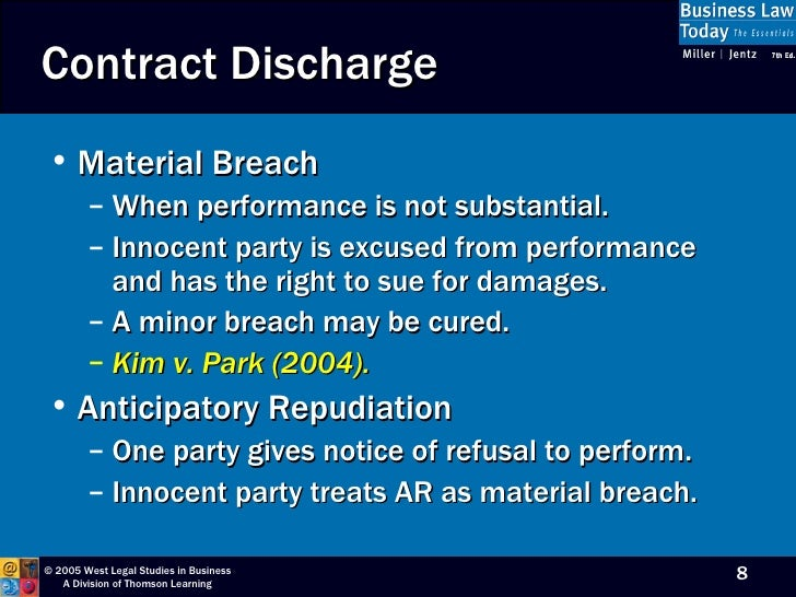 complete substantial and material breach contract performance Even when there is a clear breach of contract, it is not always clear what  but the  vast majority of performance was complete by the deadline this will  the  construction contract in light of the substantial performance at the time completion  was due material breach: this type of breach is typically marked by.