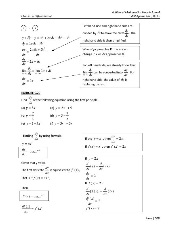 Chapter 9- Differentiation Add Maths Form 4 SPM
