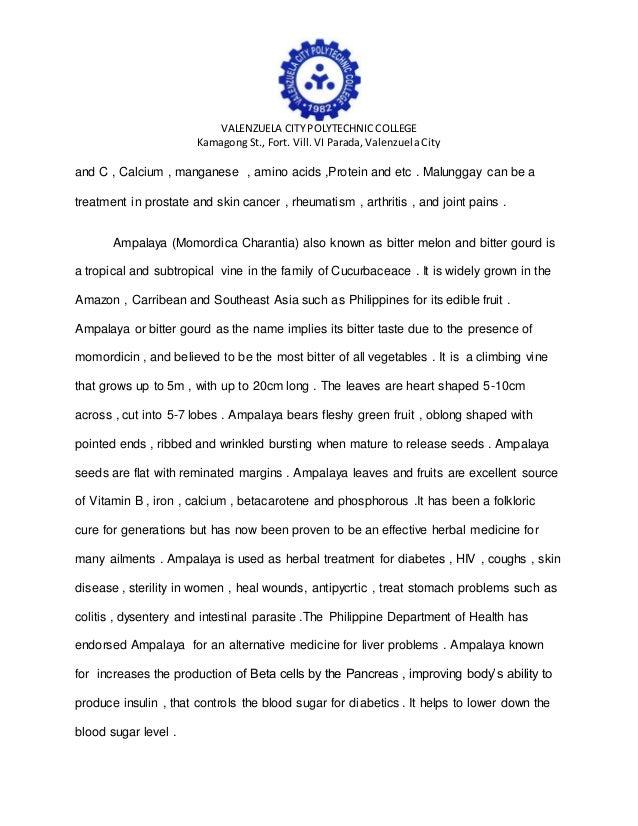 research proposal about ampalaya