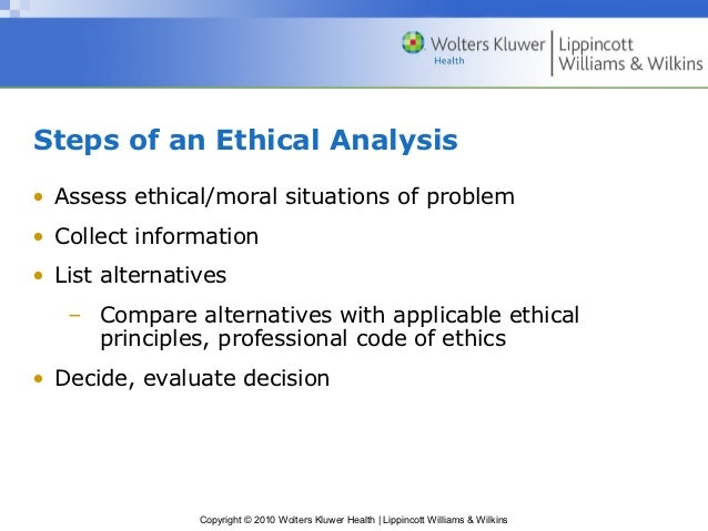 steps of an ethical analysis assess ethical moral situations of