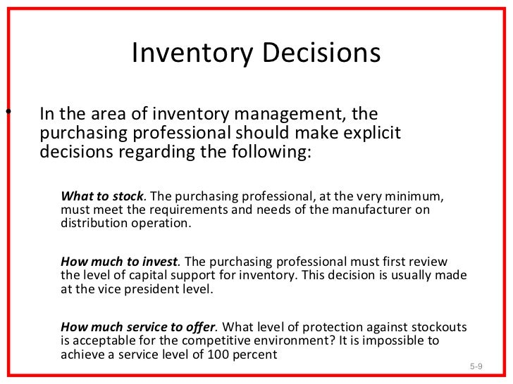 INVENTORY CONTROL DECISIONS DOWNLOAD