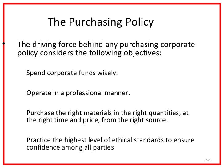 7 3 4 the purchasing policy