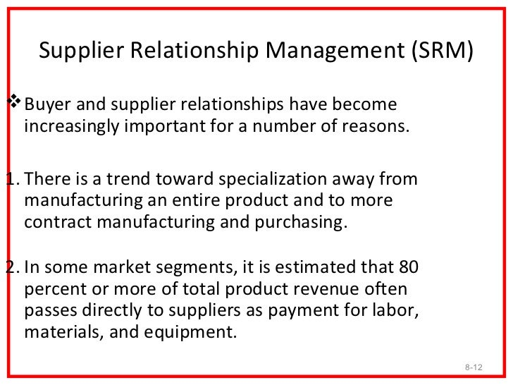 supply selection and relationship management