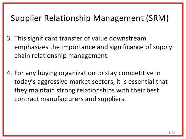 Supplier Relationship Management (SRM)3. This significant transfer of value downstream   emphasizes the importance and sig...