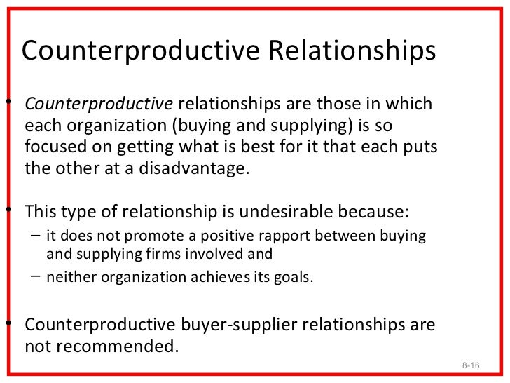 Counterproductive Relationships• Counterproductive relationships are those in which  each organization (buying and supplyi...