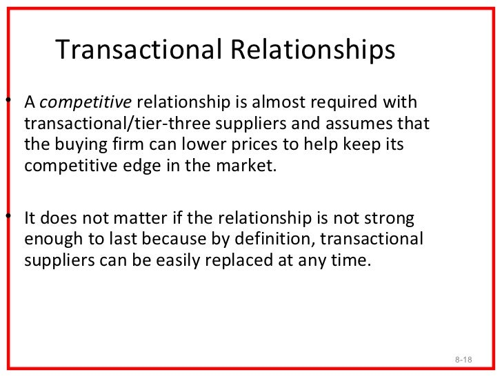 Transactional Relationships• A competitive relationship is almost required with  transactional/tier-three suppliers and as...