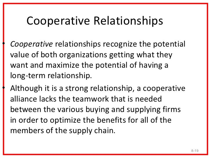 Cooperative Relationships• Cooperative relationships recognize the potential  value of both organizations getting what the...