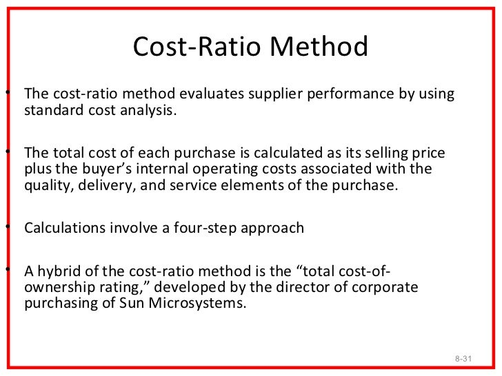 Cost-Ratio Method• It includes five performance factors: quality (maximum of 30  points), delivery (25), technology (20), ...